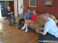 Blonde wife screws a stranger in front of her hubby and he loves it