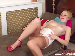 British blonde Kiana Kraze strips wanks in vintage nylons girdle and stiletto heels