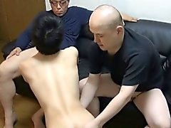 Gay asian twink sucks two