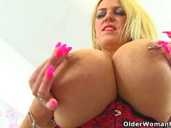 UK milf Shannon Blue shows off her huge tits