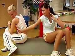 Cindy and Amber plumbing each other in the gym