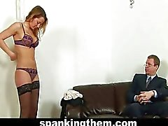 Angry boss punishes busty office babe