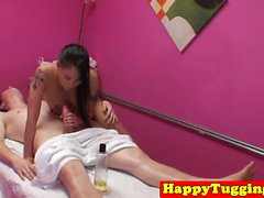 Asian masseuse gets her hairy pussy drilled