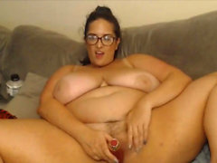 fat bbw loves her lovense dildo deep inside her