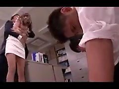 Boss grabs his secretary and bends her over the copier to b