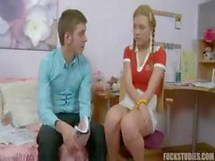 Young blonde schoolgirl can't concentrate so the tutor distracts her with his cock