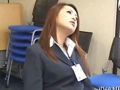 Asian office ladies fingered for the job