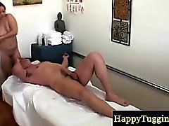 Massage table gets covered in cum