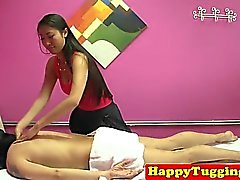 Cocksucking asian masseuse milking client