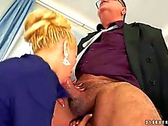 Young blonde Chary Kiss gives head to her mature boss