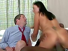 Big stacked MILF makes husband watch her