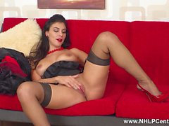 Stripping from retro outfit busty brunette Roxy Mendez wanks in sheer nylons red stilettos