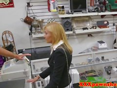 Pawnshop milf cocksucks out the back for cash