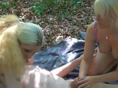 Old man 89y fuck young blonde in woods