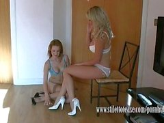 Lesbian babes talk dirty in sexy lingerie and tease in heels