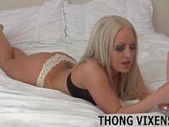 I put on the white lace thong you love so much JOI