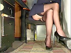 Office flicka strumpor upskirt