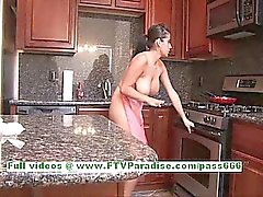 Alexa Loren busty cute brunette woman flashing tits and ass in the kitchen