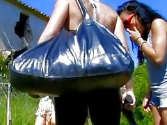 Pigtailed French brunette rides cock outdoors