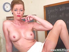 Spunk over teacher Miss Holly Kiss wide open on desk in mini open girdle vintage nylons