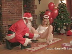 Santa visits Tinkerbell brings pussy pump toys empty his sac