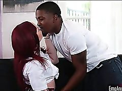 Redhead emo chick banged by black dude hard and deep