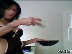 Black Camgirl Cooks and Masturbates in The Kitchen