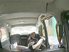 Skanky pussy licked and ass fucked by the driver in the cab