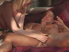 Mature blonde and strong man polish each others ass