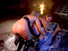 Big tit MILF Tanya Tate and her blonde lesbian lover go at it