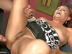 Mature Lupita takes young dick in her hairy vagina