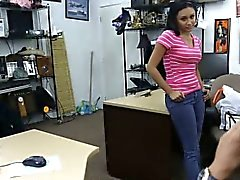 Latina teen babe Amber fucked in pawn shop for money