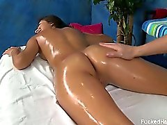 Hot and sexy 18 year old AJ gets fucked hard by her massage
