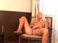 Hot girl screws her pussy with a dildo