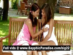 Angelic brunette lesbians kissing and licking nipples and having lesbian sex