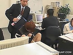 Jap office babe tied up to the chair and banged at work
