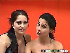 Two sexy Latinas get naked and double team and hard cock