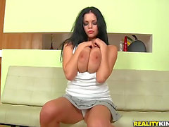 The nice-looking brunette hair pornstar Shione Cooper demonstrates to the Neeo her colossal oiled boobies