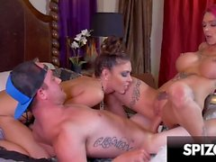Hot tattooed redhead in a hardcore threesome with Jessica Jaymes - Spizoo