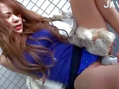 Asian Chick Gets Toyed Throught The Pantyhose