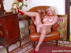 Blonde big tits babe Penny Lee teases in crotchless nude pantyhose red stilettos for you to wank
