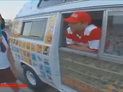 icecream truck blond short haired teen fucked and eats cumcandy