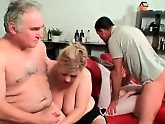 Granny and babe are sharing big dicks