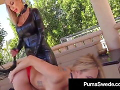 Busty Blonde Bombshell Puma Swede Whips A Girl To Orgasm!