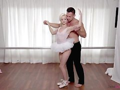 Tiny blonde teen Elsa Jean gives her ballet instructor a