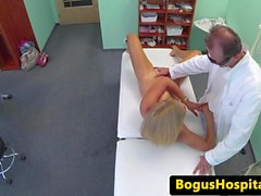 Real patient fingered and fucked by her dr