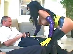 Threesome In Latex Stockings Glo...