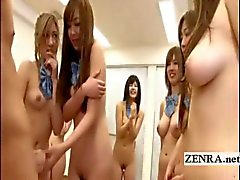 Japanese nudist students group stretching with handjob