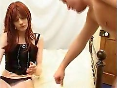 Guy fucks red haired crossdresser