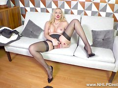 Sexy blonde Milf Amber Jayne strips off black lingerie fingers herself off in stockings